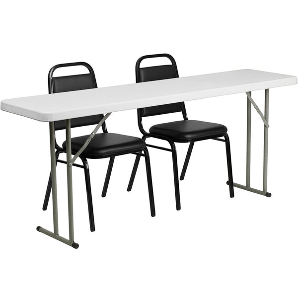 18'' x 72'' Plastic Folding Training Table w/2 Trapezoidal Back Stack Chairs
