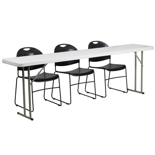 18'' x 96'' Plastic Folding Training Table w/3  Plastic Stack Chairs