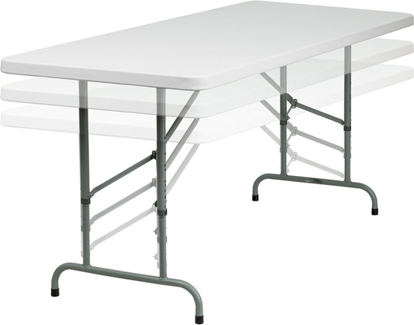 30''W x 72''L Height Adjustable Granite Plastic Folding Table