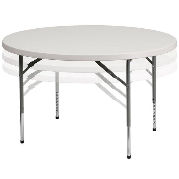 48'' Round Height Adjustable Granite Plastic Folding Table