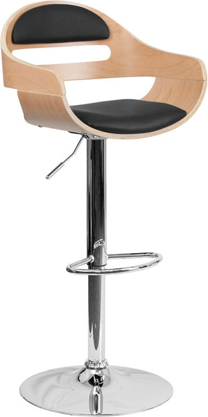Beech Bentwood Adjustable Height Barstool w/ Vinyl Seat and Cutout Padded Back