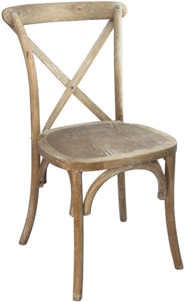 X-Back Rustic Cross Back Beechwood Chair with White Grain