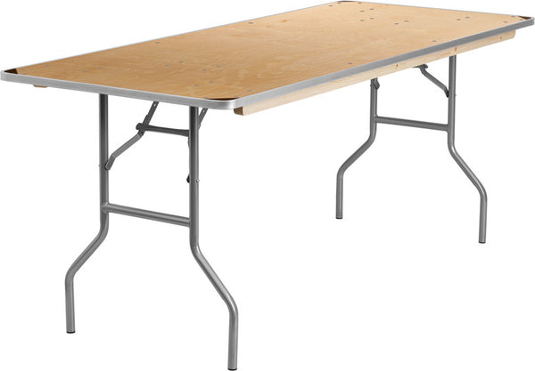 30'' x 72'' Rectangular HEAVY DUTY Birchwood Folding Banquet Table w/METAL Edges and Protective Corner Guards