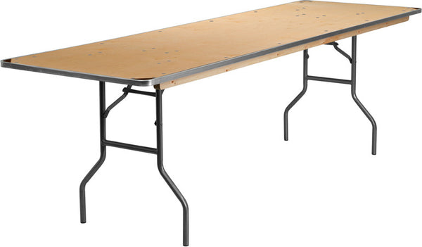 30'' x 96'' Rectangular HEAVY DUTY Birchwood Folding Banquet Table w/METAL Edges and Protective Corner Guards