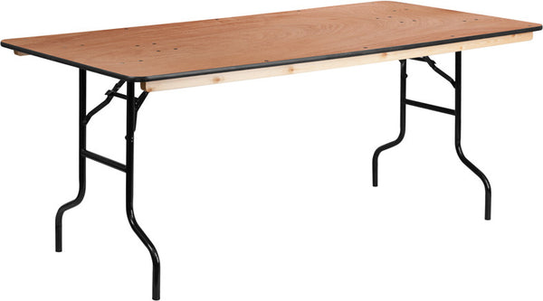 36'' x 72'' Rectangular Wood Folding Banquet Table w/Clear Coated Finished Top