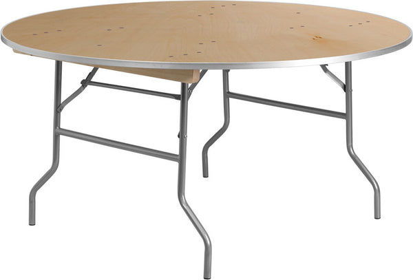 60'' Round HEAVY DUTY Birchwood Folding Banquet Table w/METAL Edges