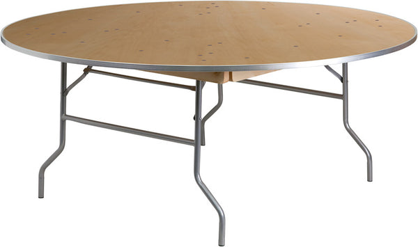 72'' Round HEAVY DUTY Birchwood Folding Banquet Table w/METAL Edges