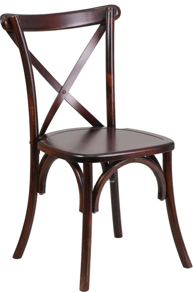 X-Back Wood Fruitwood Cross Back Chair
