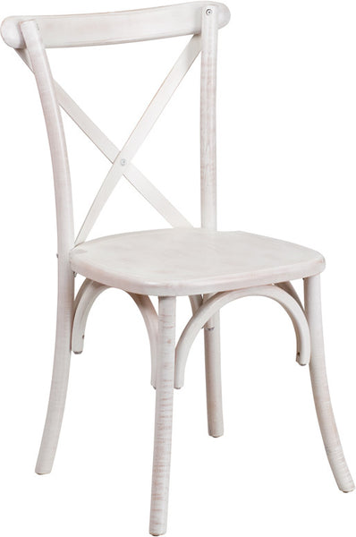 X-Back Wood Lime Wash Cross Back Chair