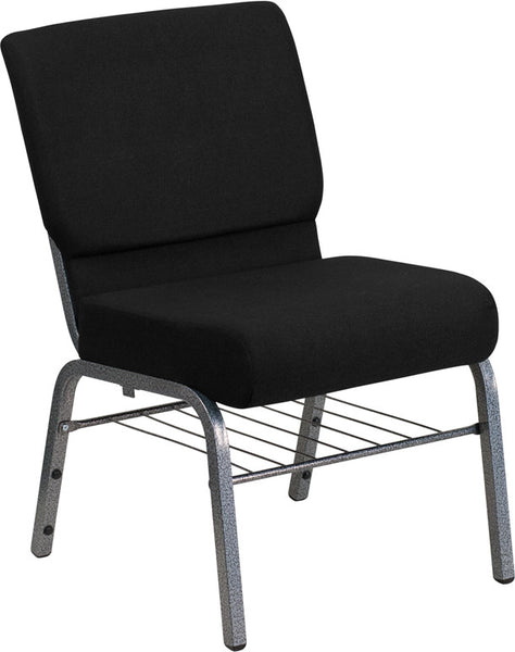 Church Chair 21'' Extra Wide Fabric w/3.75'' Thick Seat, Book Rack - Silver Vein Frame