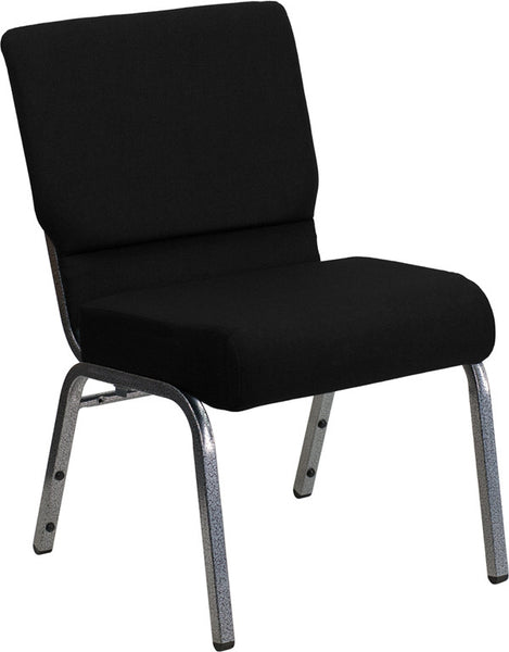 21'' Extra Wide Fabric Stacking Church Chair w/3.75'' Thick Seat - Silver Vein Frame