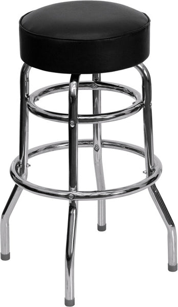Double Ring Chrome Barstool w/ Seat