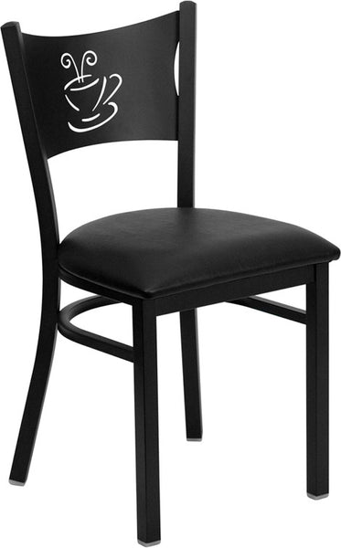 Coffee Back Metal Restaurant Chair -  Vinyl Seat