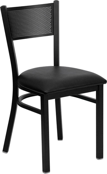 Grid Back Metal Restaurant Chair -  Vinyl Seat