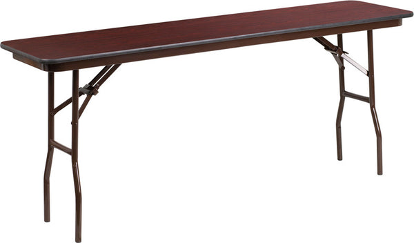 18'' x 72'' Rectangular Mahogany Laminate Folding Training Table