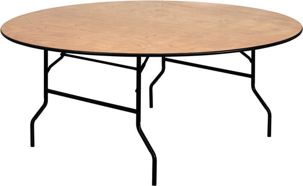 72'' Round Wood Folding Banquet Table w/Clear Coated Finished Top