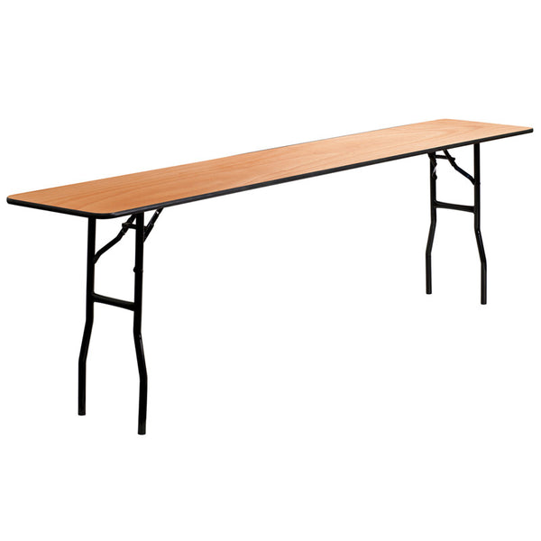 18'' x 96'' Rectangular Wood Folding Training / Seminar Table w/Smooth Clear Coated Finished Top
