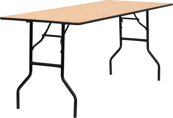 30'' x 72'' Rectangular Wood Folding Banquet Table w/Clear Coated Finished Top