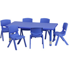 24''W x 48''L Adjustable Rectangular Plastic Activity Table Set w/6 School Stack Chairs