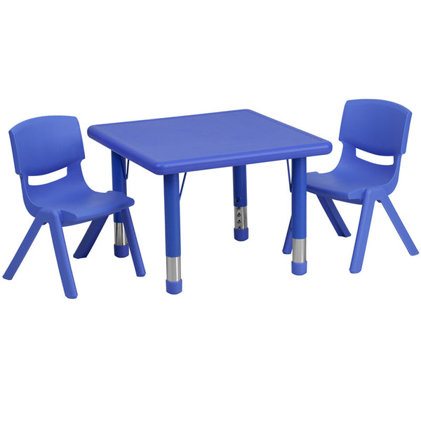 24'' Square Adjustable Plastic Activity Table Set w/2 School Stack Chairs