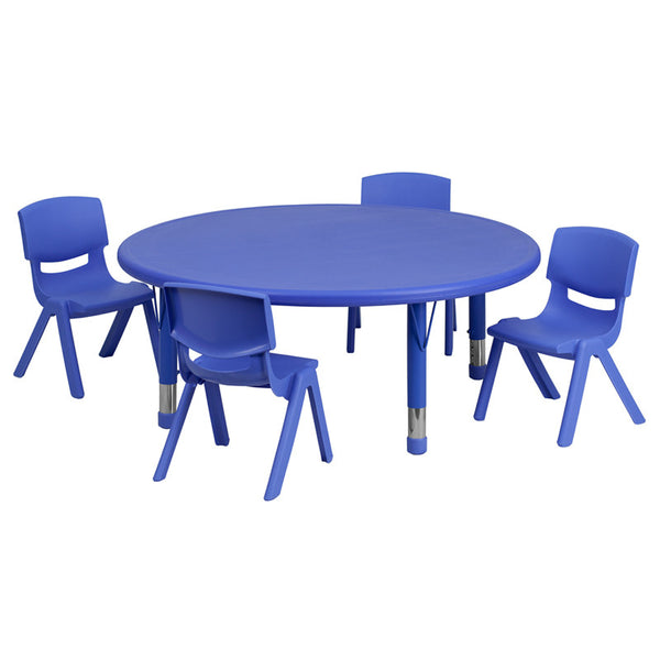 45'' Round Adjustable Plastic Activity Table Set w/4 School Stack Chairs