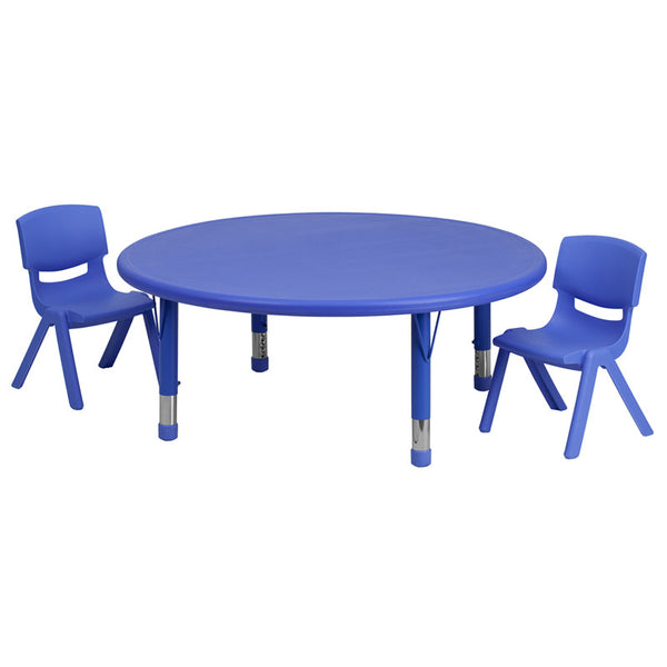 45'' Round Adjustable Plastic Activity Table Set w/2 School Stack Chairs