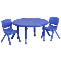 33'' Round Adjustable Plastic Activity Table Set w/2 School Stack Chairs