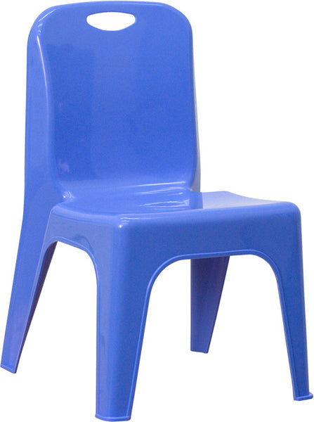 Plastic Stackable School Chair w/Carrying Handle and 11'' Seat Height
