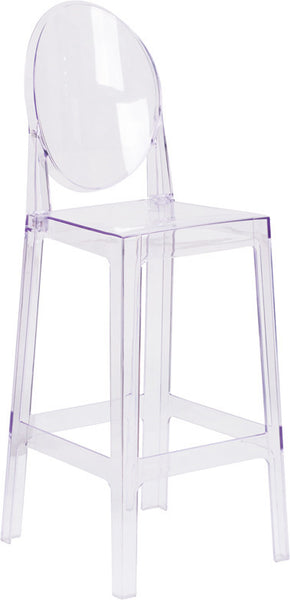Ghost Barstool w/Oval Back in Transparent Crystal