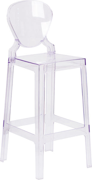 Ghost Barstool w/Tear Back in Transparent Crystal