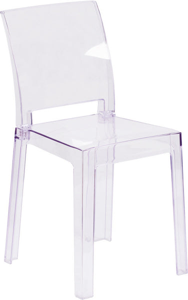 Amazing Ghost Side Chair With Square Back In Transparent Crystal