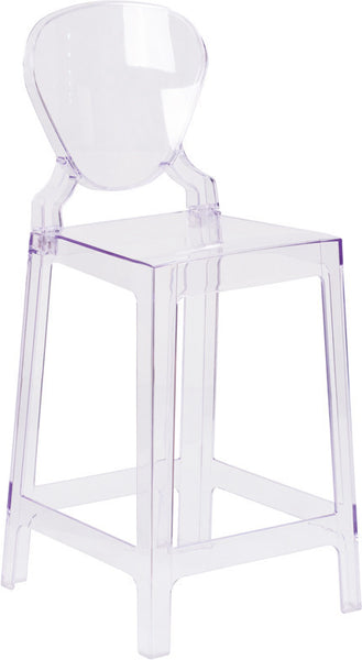 Ghost Counter Stool w/Tear Back in Transparent Crystal