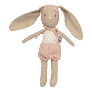 oatmeal bunny doll pink outfit and bonnet