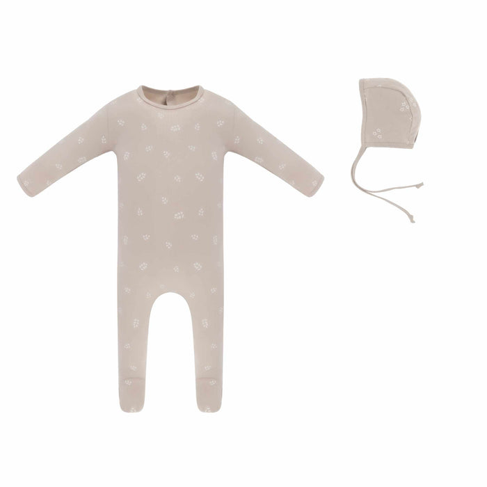Baby Girl Footie+Bonnet | Leaf | Desert Mauve | Ely's & Co SS21