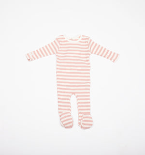 Baby Girl Footie+Bonnet | Striped | Mauve | Tricot Bebe SS21