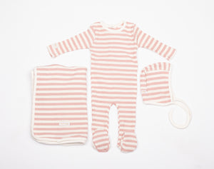 Baby Girl Layette Set | Striped | Mauve | Tricot Bebe SS21