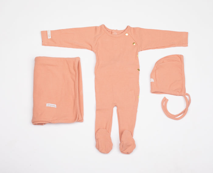 Baby Girl Layette Set | Wide Ribbed | Rose | Tricot Bebe SS21