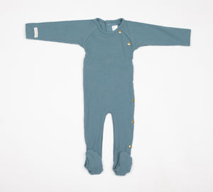 Baby Boy Footie+Bonnet | Wide Ribbed | Dusty Blue | Tricot Bebe SS21