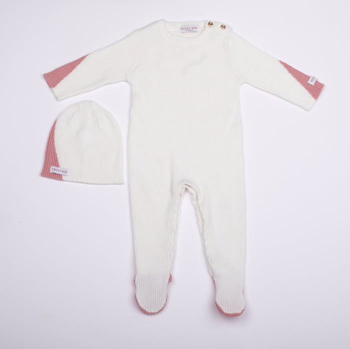 Baby Girl Footie+Beanie | Ribbed Knit | White/Pink | Tricot Bebe SS21
