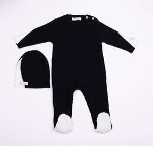 Baby Boy Footie+Beanie | Ribbed Knit | Black/White | Tricot Bebe SS21