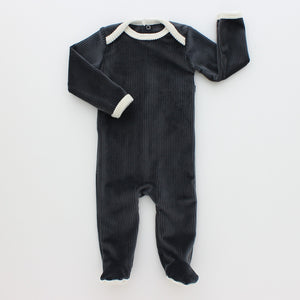 Baby Footie + Bonnet | Hatch'd | Ribbed Velour | Grey