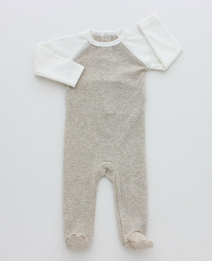 Baby Boy Footie+Bonnet | Rib Contrast Sleeve | Heather Taupe | MeMe SS21