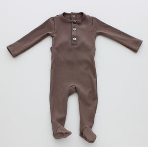 Baby Boy Footie | Rib Henley | Taupe | MeMe SS21