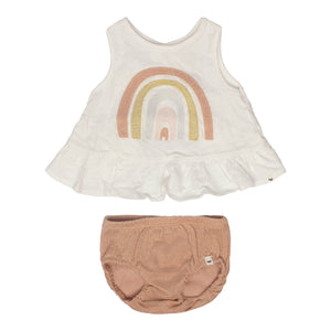 2 Pc baby outfit cream dolly ruffled top with rainbow applique and rose gold bubble bottom