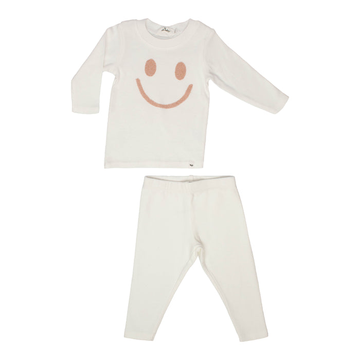 Baby 2 Piece Outfit | Oh Baby | Stardust Smiley - Cream/Rose Gold