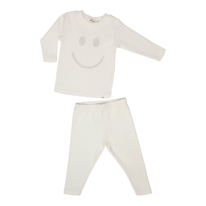Baby 2 Piece Outfit | Oh Baby | Stardust Smiley - Cream/Silver