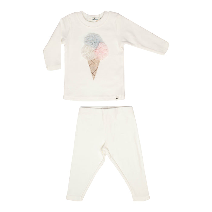 Baby 2 Piece Outfit | Oh Baby | Triple Ice Cream Scoop - Cream/Pink