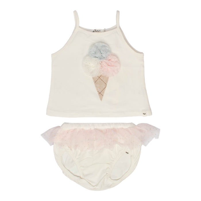 Baby 2 Piece Tank Outfit | Oh Baby | Triple Scoop Tank Ballet Ruffles - Pale Pink