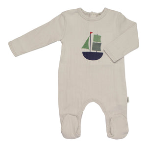 Baby Footie | Antebies | Horizon Grey Ribbed