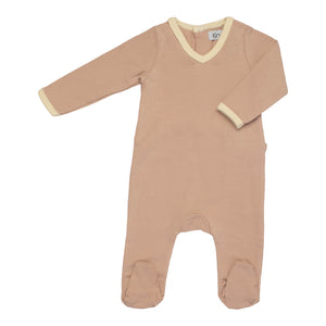 Baby Footie | Kin & Kin | V-neck - Old rose